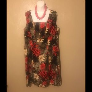Perceptions flowered dress size 14W, polyester